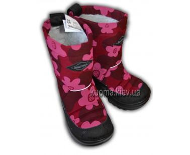 Сапоги Kuoma Putkivarsi бордовые цветы 130308-826